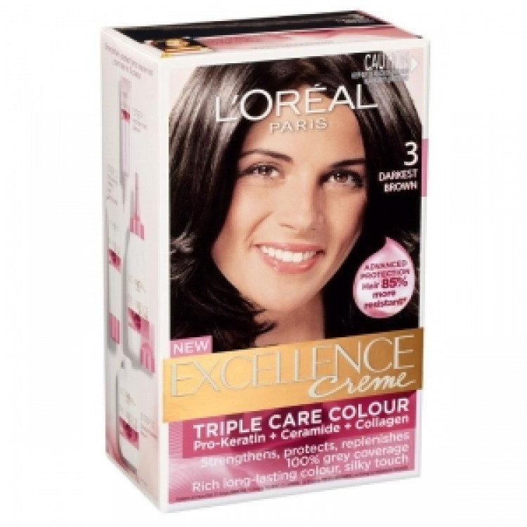 Loreal Paris Excellence Creme Hair Colour Natural Darkest Brown No 3